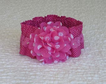 """Lady in Pink Dog Scrunchie Collar with pink embroidered lace and dotted eyelet flower - Size M:  14"""" to 16"""" neck"""