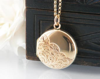 Antique Locket | Solid 9ct Gold Edwardian Locket | .375 Hallmarked English Gold | 1907 Solid Gold Wedding Locket Necklace - 20 Inch Chain