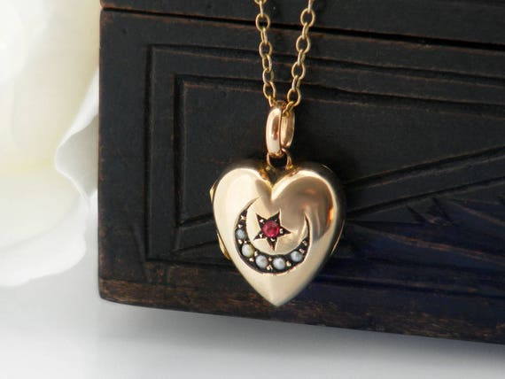 Antique Locket | Victorian Gold Heart Locket with Ruby, Seed Pearls | Moon & Star | Petite Wedding Locket | Bridal Gift - 17.3 Inch Chain