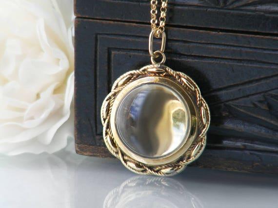 Antique 14ct Gold Locket | 'Glass' Front Victorian Locket, Memento Locket, Love Token | Rope Twist Edge Ornate Bridal Locket - 22 Inch Chain