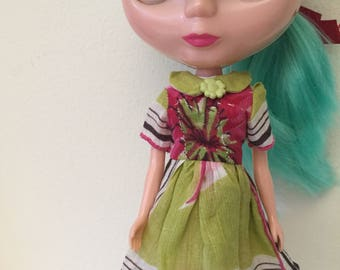 Green and Pink Floral With Stripes Vintage Hankie Dress For Blythe