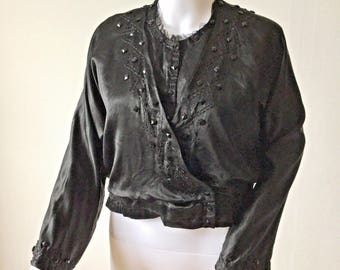 Antique 1910s Black Silk Blouse Decorative Stitch and Bead Detail Edwardian 1900s