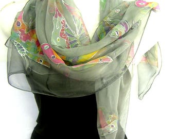 """Hand Painted Silk Scarf, Butterflies, Gray Multicolor, 35"""" Square Silk Chiffon Scarf, Gift For Her"""