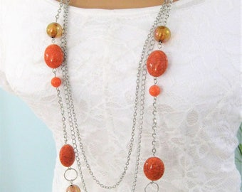Orange Beaded Necklace, Long Beaded Necklace, Multi Strand Necklaces, Silver Jewelry, Silver Necklace, Orange Necklace, Bead Necklaces, N815