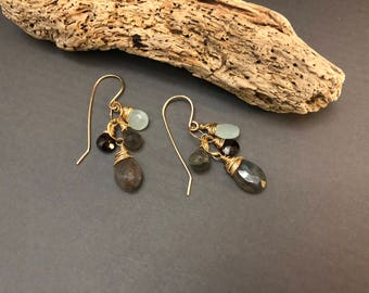 Gemstone Cluster Earrings, Labradorite and Garnet Earrings, Red and Blue Gemstone Earrings, Sundance Style Earrings
