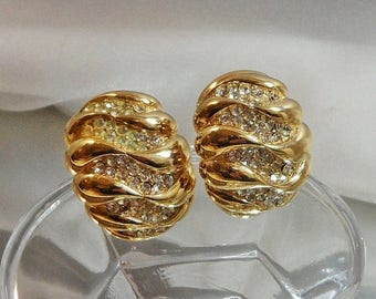 SALE Vintage Rhinestone Earrings. Bold Gold Plated. Showstopper. Clear Rhinestones.