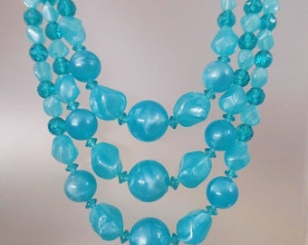 SALE Vintage Aqua Blue Three Strand Lucite Necklace.  Turquoise Marbled Lucite Bead Necklace.