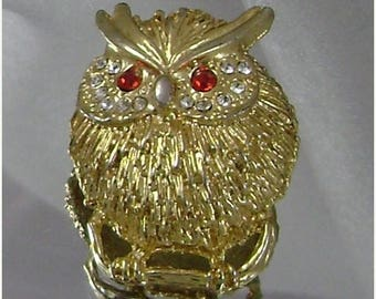 SALE Vintage Owl Brooch Bird Chubby Little Owl Pin