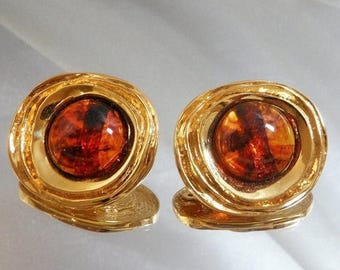 SALE Vintage St John Earrings 22k Gold Plated and Faux Amber Tortoiseshell