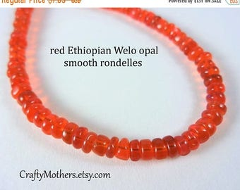 7% off SHOP SALE Red Ethiopian Welo Opal Beads, 20 beads, Choose a Size, poppy red orange, natural gemstone beads, luxe gemstones