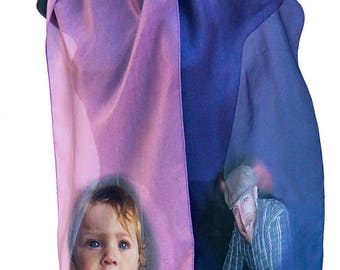 Anniversary Silk Scarf Digital Printed  from Your Photos or Art Custom Made Limited Editions or Originals