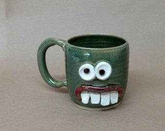 Cups and Mugs Frosty Green Coffee Cup. Unique Gifts for Man Woman Coffee Lover. Green Tea Mug. Handmade Ceramic Pottery Face. Ug Chug Mugs.