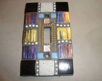 MOSAIC Light Switch Plate -  Single Switch, Wall Art, Wall Plate, Black, Gold, White, Blue, Lavender
