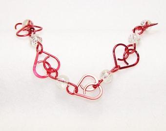 Red Heart Bracelet, Wire Heart Bracelet, Beaded Heart Bracelet