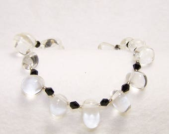 Beautiful Quartz and Crystal Bracelet, Free Shipping