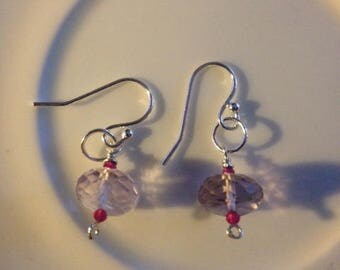 Handmade Silver Rose de France Amethyst and Ruby Earrings