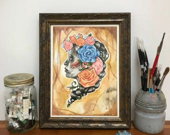 Day Of The Dead Woman - Watercolor Painting - Sugar Skull Tattoo