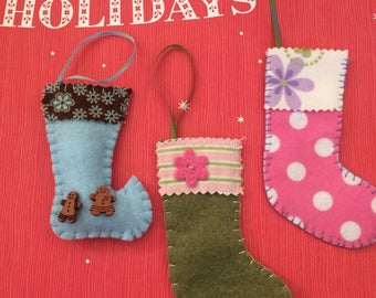 Mini stockings, 18 in doll scale, Christmas