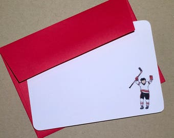 Hockey Notecard Set Blank Flat Thank You Notes