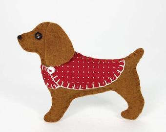 Felt dog ornament, Cocker Spaniel Ornament, Dog Christmas ornament, Brown felt spaniel ornament, Cocker spaniel Christmas ornament, Millie