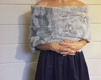 bridal wrap Faux fur wrap faux fur shawl gray stole silver