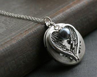 Wing locket necklace, silver locket, wing necklace, round locket, wing jewelry, wing pendant, locket pendant,  memorial necklace -Evangeline