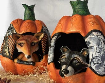 Woodland Critters in Quilted Gothic Pumpkins - OOAK Sculptures - Choose Ginger the Fox or Spike the Raccoon - Halloween Storybook Decor