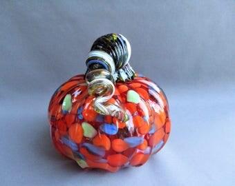 Glass Pumpkin,Art Glass, Hand Blown, Curly Stem,Multicolored.