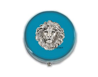 Lion Head Round Metal Pill Box Hand Painted Enamel in Turquoise Leo Zodiac Design with Personalized and Color Options
