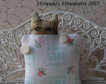 Dollhouse miniature cottage chic pink & blue Peek-A-Boo tabby cat kitty pillow