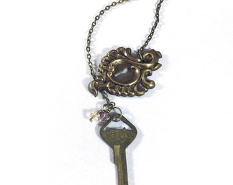 Assemblage Necklace, Lock and Key Necklace, Upcycled Necklace, Vintage Key, Key Pendant, Upcycled Jewelry, Assemblage Jewelry