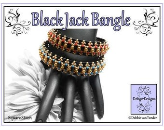 Tila Beading Pattern, Tutorial, Bangle - BLACK JACK
