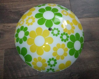 White Glass Hanging Ceiling Light Shade with Yellow and Green Daisies Flowers 1970s Retro Funky