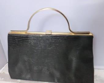 Vintage Dover Handbag Purse Black Faux Snakeskin Gold Tone 1960's USA Textured Vinyl Retro Designer