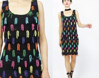 25% off Summer SALE Vintage 90s Tassel Fringe Dress Black Body Con Mini Dress Spandex Rainbow 1920s Style Flapper Dress Go Go Dancer Cocktai