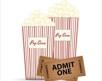 Popcorn-Digital-ClipArt-Art Clip-Digital-Food-Party-Gift Tag-Notebook-Scrapbook-banner-background-gift card.