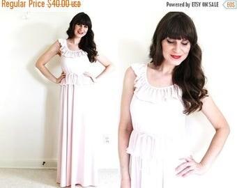 ON SALE Vintage Maxi Dress/ 70s Maxi Dress / Light Pink Maxi Dress