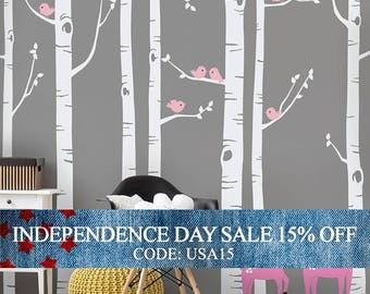 Independence Day Sale - Birch Tree Wall Decal with Birds and Deer, Baby Nursery Wall Stickers, Nursery Wall Decals, Tree with Birds and
