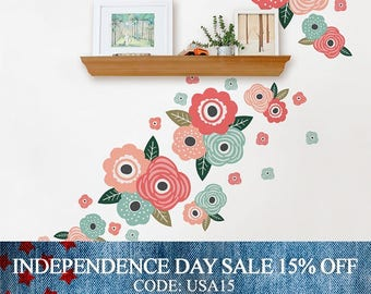 Independence Day Sale - Kids Flower Wall Sticker, Chic Coral and Mint Blooms Wall Stickers - Peel and Stick Wall Stickers Kids Room Decor
