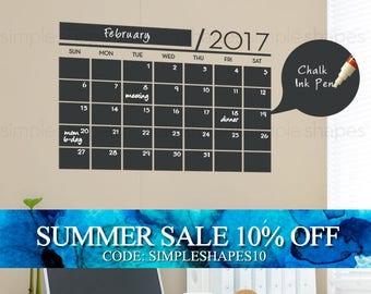 2017 Chalkboard Wall Calendar - Vinyl Wall Decals - 2017 Wall Calendar