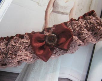 Burgundy and Pink Lace Garter