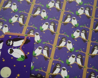 Owl Wrapping Paper - Bird Pattern - Recycled Wrapping Paper - Cute Wrapping Paper - Owl Illustration - Halloween Wrapping Paper