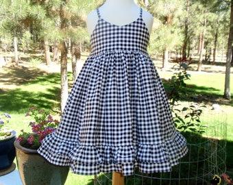 Girls Black and White Dress, Girls Gingham Dress, Girls Special Occasion Dress, Girls Twirl Dress, Double Ruffles, Girls Sundress