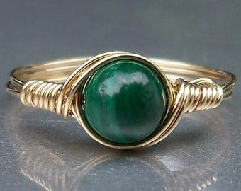 25% Off Sale Malachite 14k Gold Filled Wire Wrapped Gemstone Ring