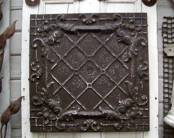 "Tin Ceiling Tile. FRAMED 24"" antique metal tile.  Vintage architectural salvage. Brown wall decor. Old pressed tin."