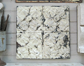 Antique Ceiling Tin Tile. Framed 2'x2' tile. Old Chippy Paint.  Architectural salvage wall decor. Rustic primitive farmhouse decor.