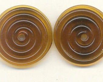 18 & 19mm range, Tom's lampwork medium mocha brown 2 disc spacer/drops set, 1 pair 99383-1