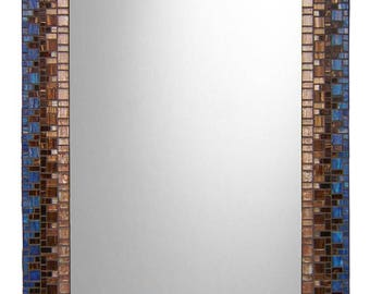 Blue & Brown Mosaic Wall Mirror