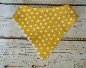 Yellow Polka Dot Organic Cotton Bandana Bib