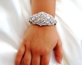 Flower Girl Rhinestone Crystal Bracelet Cuff with Pearl Closure
